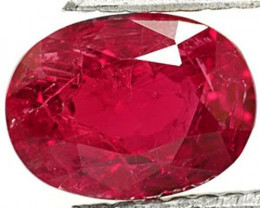 Mozambique Ruby, 1.37 Carats, Intense Red Oval