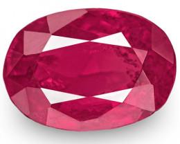 IGI Certified Tajikistan Ruby, 0.93 Carats, Pinkish Red Oval