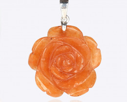 28.5cts Handcarved Natural Agate Flower Pendant, 925 Sterling Silver Pinch