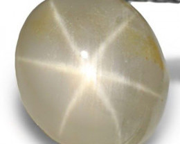 AIGS Certified Burma Fancy Star Sapphire, 2.48 Carats, Yellwoish White Oval