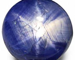 Burma Blue Star Sapphire, 19.52 Carats, Dark Blue Round