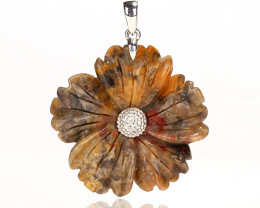 52.5cts Handcarved Natural Crazy Lace Agate Flower Pendant, 925 Sterling Si