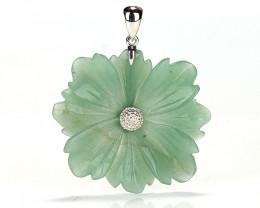 79cts Handcarved Natural Green Aventurine Flower Pendant, 925 Sterling Silv
