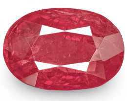 IGI Certified Madagascar Ruby, 2.91 Carats, Intense Pinkish Red Oval