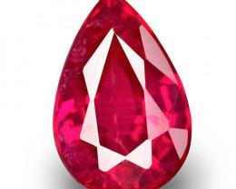 Mozambique Ruby, 0.97 Carats, Vivid Pinkish Red Pear