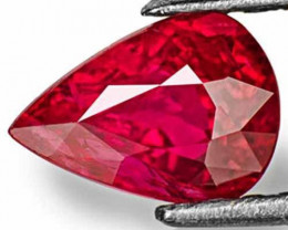 Mozambique Ruby, 1.25 Carats, Lively Pinkish Red Pear