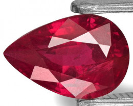 IGI Certified Mozambique Ruby, 1.36 Carats, Vivid Pinkish Red Pear