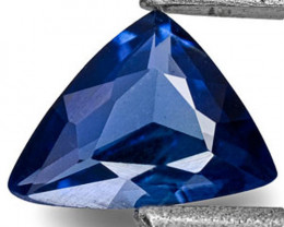 Madagascar Blue Sapphire, 0.23 Carats, Velvety Royal Blue Trilliant