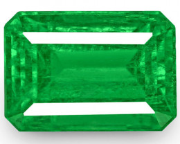 Colombia Emerald, 0.91 Carats, Lively Neon Green Emerald Cut