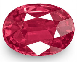 IGI Certified Mozambique Ruby, 1.25 Carats, Intense Pinkish Red Oval