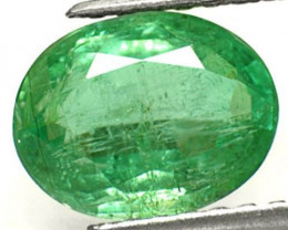 Zambia Emerald, 2.62 Carats, Lustrous Vivid Green Oval