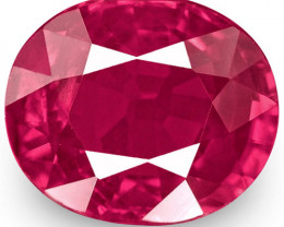 IGI Certified Mozambique Ruby, 1.04 Carats, Lively Intense Pinkish Red Oval
