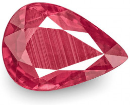 IGI Certified Mozambique Ruby, 1.03 Carats, Pinkish Red Pear