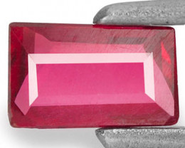 Mozambique Ruby, 0.33 Carats, Deep Red Baguette
