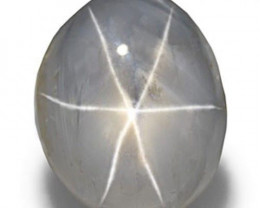 AIGS Certified Burma Fancy Star Sapphire, 7.82 Carats, Greyish White Oval
