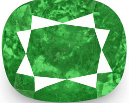 Colombia Emerald, 4.05 Carats, Lively Intense Green Cushion