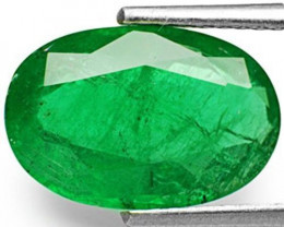 Zambia Emerald, 3.87 Carats, Dark Green Oval