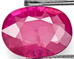 IGI Certified Mozambique Pink Sapphire, 1.00 Carats, Deep Pink Oval