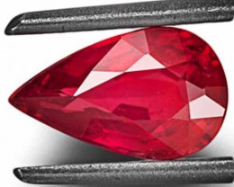 IGI Certified Mozambique Ruby, 1.22 Carats, Neon Pinkish Red Pear
