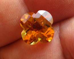 4.18cts Golden Yellow Citrine Flower Checker Board Shape