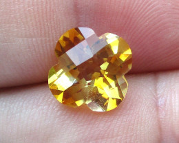 3.91cts Golden Yellow Citrine Flower Checker Board Shape