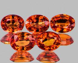 4.5x3.5 mm Oval 5pcs 1.51cts Orange Sapphire [VVS]
