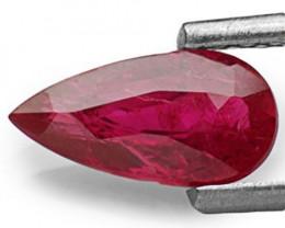 IGI Certified Mozambique Ruby, 0.87 Carats, Deep Purplish Red Pear