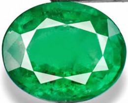 Zambia Emerald, 4.03 Carats, Deep Green Oval