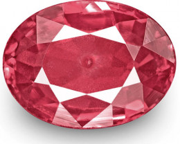 IGI Certified Mozambique Ruby, 1.21 Carats, Pinkish Red Oval