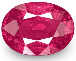 IGI Certified Mozambique Ruby, 1.18 Carats, Lustrous Pinkish Red Oval