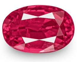 IGI Certified Mozambique Ruby, 0.99 Carats, Deep Pinkish Red Oval