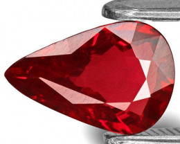 IGI Certified Mozambique Ruby, 1.21 Carats, Rich Pinkish Red Pear