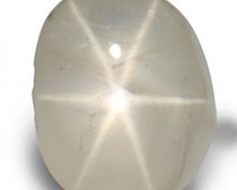 AIGS Certified Burma Fancy Star Sapphire, 3.64 Carats, White Oval