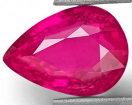 GIA Certified Mozambique Ruby, 4.01 Carats, Deep Pinkish Red Pear