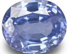 IGI Certified Burma Blue Sapphire, 3.74 Carats, Velvety Blue Oval