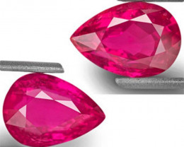GIA & GRS Certified Mozambique Rubies, 8.05 Carats, Pear