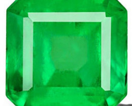 Colombia Emerald, 0.67 Carats, Lustrous Intense Green Emerald Cut