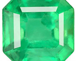 Colombia Emerald, 0.76 Carats, Lustrous Green Emerald Cut