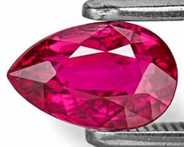 Mozambique Ruby, 1.04 Carats, Fiery Purplish Red Pear