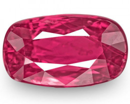 Mozambique Ruby, 1.53 Carats, Lustrous Intense Pinkish Red Cushion