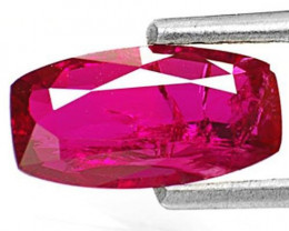 IGI Certified Mozambique Ruby, 1.27 Carats, Dark Purplish Red Cushion