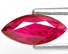 IGI Certified Mozambique Ruby, 0.97 Carats, Deep Pinkish Red Marquise