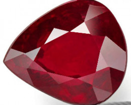 GRS Certified Mozambique Ruby, 2.07 Carats, Deep Pigeon Blood Red Pear