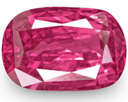 IGI Certified Madagascar Pink Sapphire, 3.19 Carats, Rich Pink Cushion
