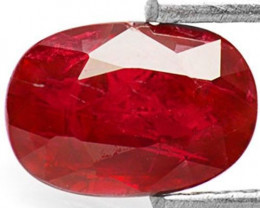 GII Certified Mozambique Ruby, 1.25 Carats, Pigeon Blood Red Oval