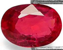 AIGS Certified Burma Ruby, 0.70 Carats, Maroonish Red Oval