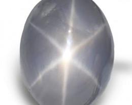 AIGS Certified Sri Lanka Blue Star Sapphire, 4.72 Carats, Greyish Blue Oval