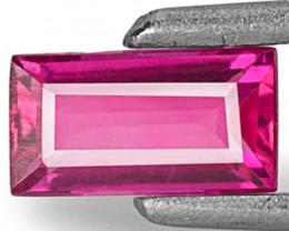 Mozambique Ruby, 0.53 Carats, Neon Pinkish Red Baguette