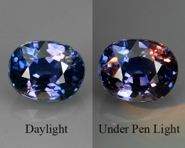 CERTIFIED COLOR CHANGE SAPPHIRE NO HEAT FACET GENUINE OVAL MADAGASCAR