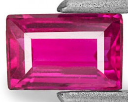 Mozambique Ruby, 0.53 Carats, Deep Pinkish Red Baguette